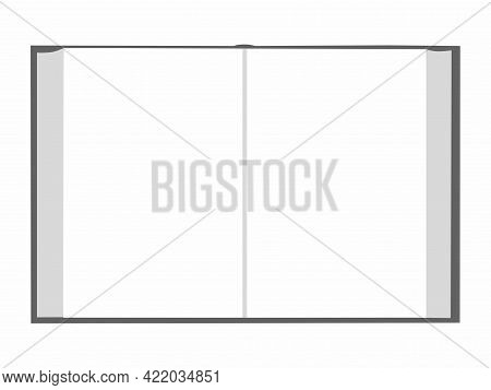 Colorless Blank Open Note Book. View From Above. Copy Space, Monochrome Vector Illustration On White