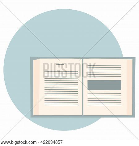 Open Book On Circle Blue Background. View From Above. Monochrome Vector Illustration On White Backgr