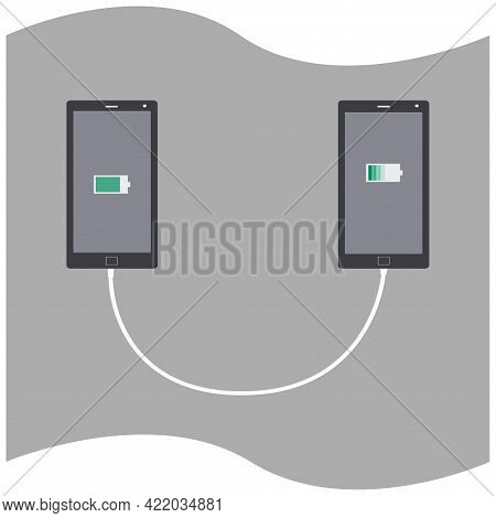 Being Charged Device-to-device. Borrowing A Little Bit Of Charge. Isolated Vector Illustration For I