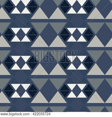 Denim Monochrome Seamless Pattern. Abstract Geometric Background. Vector Illustration. Print On Pape