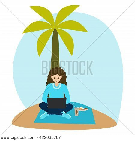Woman Freelancer Using Laptop On The Beach.  Girl Sitting Under A Palm Tree. Work And Rest. Isolated