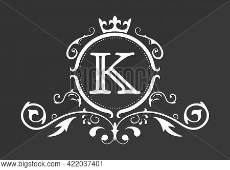 Stylized Letter K Of The Latin Alphabet. Monogram Template With Ornament And Crown For Design Of Ial