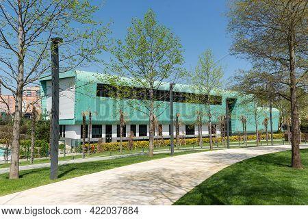 Krasnodar, Russia-may 02, 2021: Green Building Of The Childrens Football Academy Near The City Park