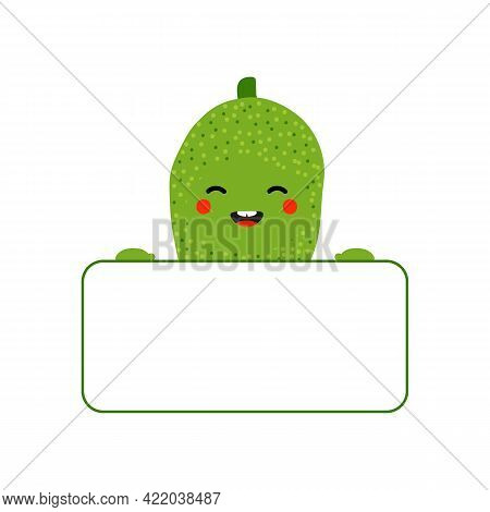 Cute Smiling Cartoon Style Jackfruit Character Holding In Hands Blank Card, Banner.