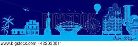 Vector City Skyline Silhouette - Illustration,  Town In Blue Background,  San Diego, California