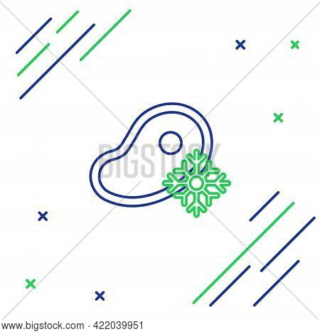Line Fresh Frozen Steak Meat Icon Isolated On White Background. Colorful Outline Concept. Vector