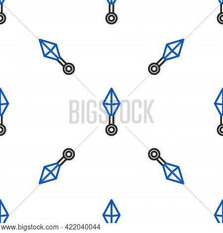 Line Japanese Ninja Shuriken Icon Isolated Seamless Pattern On White Background. Colorful Outline Co