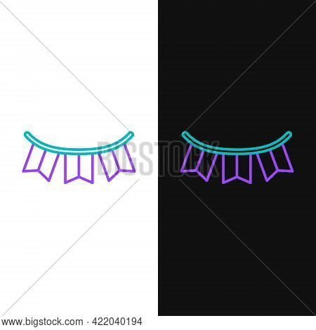 Line Carnival Garland With Flags Icon Isolated On White And Black Background. Party Pennants For Bir