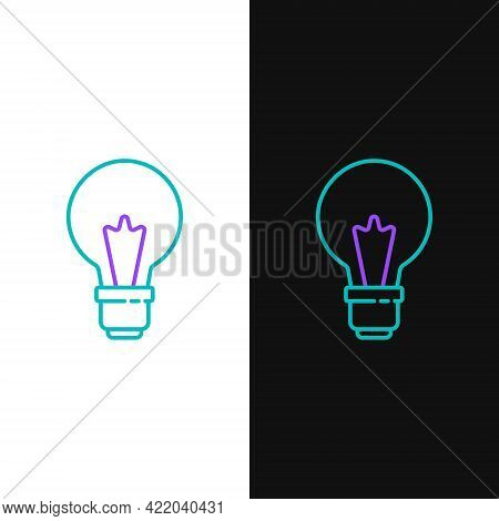 Line Light Bulb With Concept Of Idea Icon Isolated On White And Black Background. Energy And Idea Sy