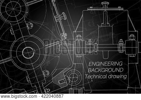 Mechanical Engineering Drawings On Black Background. Reducer. Technical Design. Cover. Blueprint. Ve