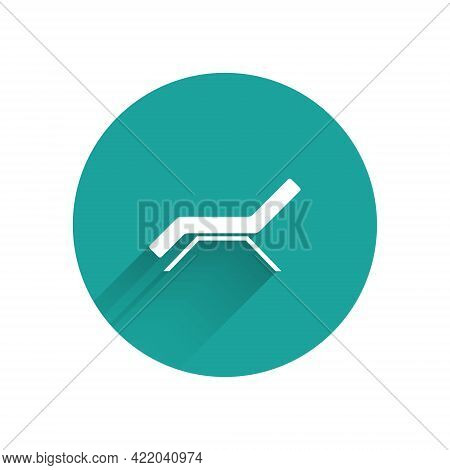 White Sunbed Icon Isolated With Long Shadow. Sun Lounger. Green Circle Button. Vector