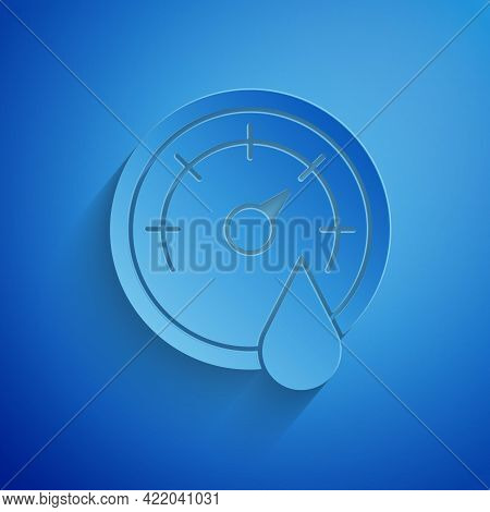 Paper Cut Sauna Thermometer Icon Isolated On Blue Background. Sauna And Bath Equipment. Paper Art St