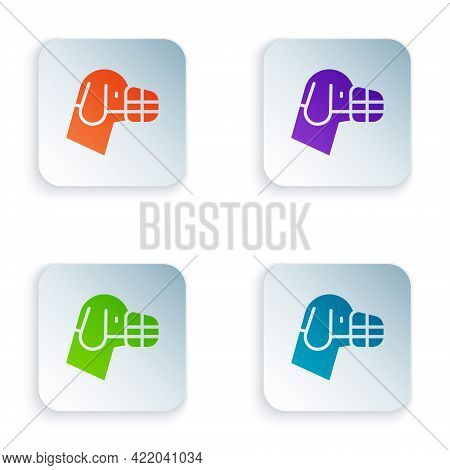 Color Dog In Muzzle Icon Isolated On White Background. Accessory For Dog. Set Colorful Icons In Squa