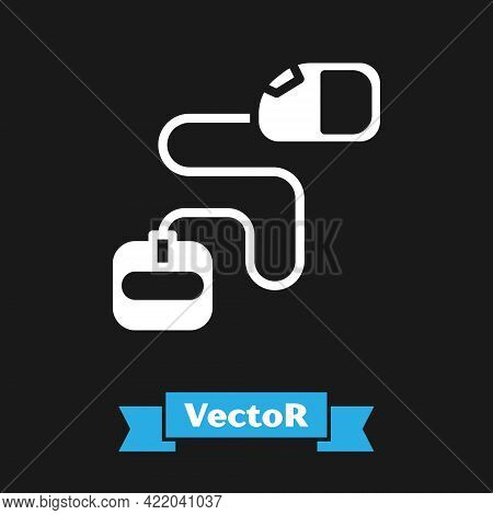 White Retractable Cord Leash With Carabiner Icon Isolated On Black Background. Pet Dog Lead. Animal
