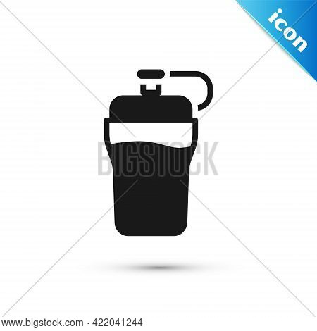 Grey Fitness Shaker Icon Isolated On White Background. Sports Shaker Bottle With Lid For Water And P