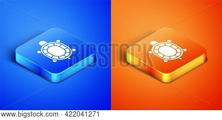 Isometric Turtle Icon Isolated On Blue And Orange Background. Square Button. Vector