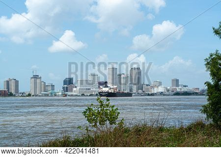 New Orleans, La, - June 22: Skyline Of The City Of New Orleans From The Bank Of The Mississippi Rive