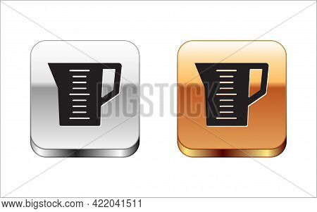 Black Measuring Cup To Measure Dry And Liquid Food Icon Isolated On White Background. Plastic Gradua