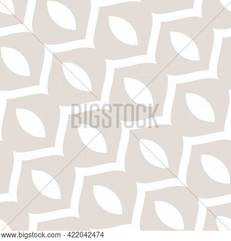 Subtle Vector Abstract Geometric Seamless Pattern With Curved Shapes, Wavy Lines, Diagonal Stripes.
