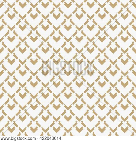Golden Vector Geometric Seamless Pattern. Abstract Texture With Diamond Grid, Arrows, Square Shapes.
