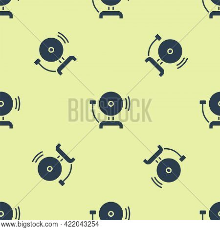 Blue Ringing Alarm Bell Icon Isolated Seamless Pattern On Yellow Background. Fire Alarm System. Serv
