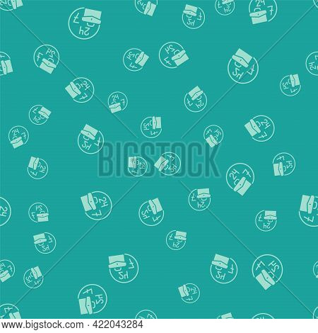 Green Always Busy Icon Isolated Seamless Pattern On Green Background. Vector