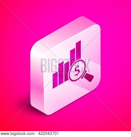 Isometric Pie Chart Infographic And Dollar Symbol Icon Isolated On Pink Background. Diagram Chart Si