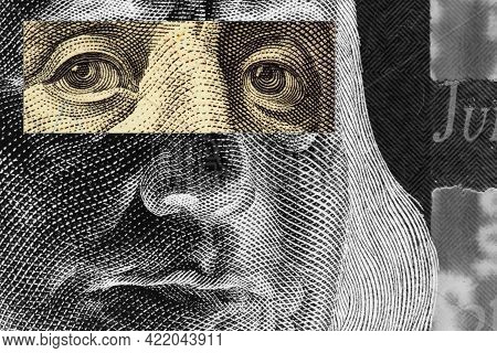 Franklin's Face Close-up With A Stripe Of Censorship On His Eyes On A 100 Dollar Bill. Unusual, Part