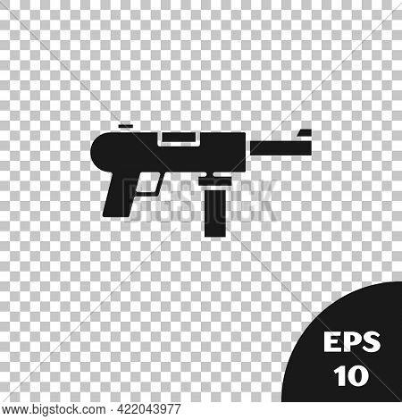 Black Submachine Gun M3, Grease Gun Icon Isolated On Transparent Background. Vector