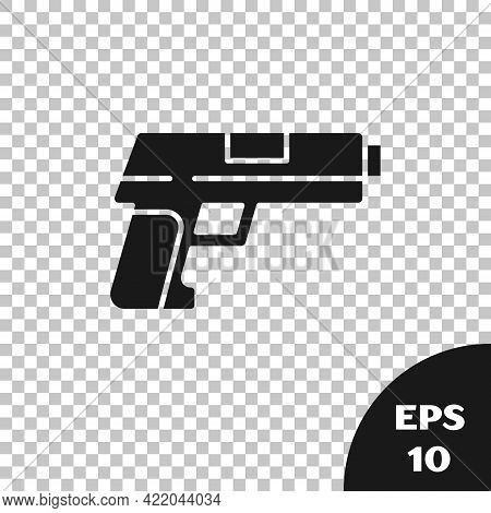 Black Pistol Or Gun Icon Isolated On Transparent Background. Police Or Military Handgun. Small Firea