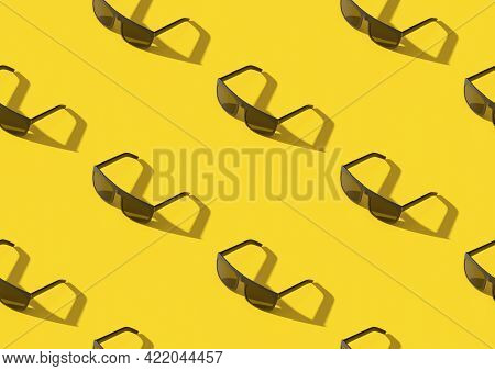 Isometric Seamless Pattern Of Sun Glasses On Yellow Background. 3d Illustration.