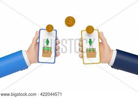 Two Cartoon Hands Holding Mobile Phones Making A Money Transfer. 3d Illustration.