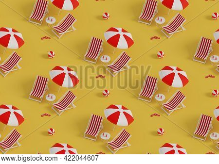 Isometric Seamless Pattern Of Lounge Chairs And Umbrella On Yellow Background. 3d Illustration.