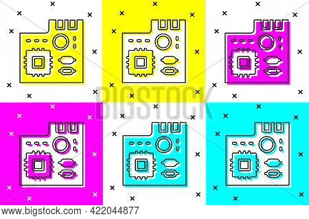 Set Electronic Computer Components Motherboard Digital Chip Integrated Science Icon Isolated On Colo