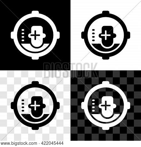 Set Headshot Icon Isolated On Black And White, Transparent Background. Sniper And Marksman Is Shooti