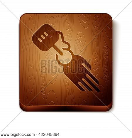 Brown Prosthesis Hand Icon Isolated On White Background. Futuristic Concept Of Bionic Arm, Robotic M