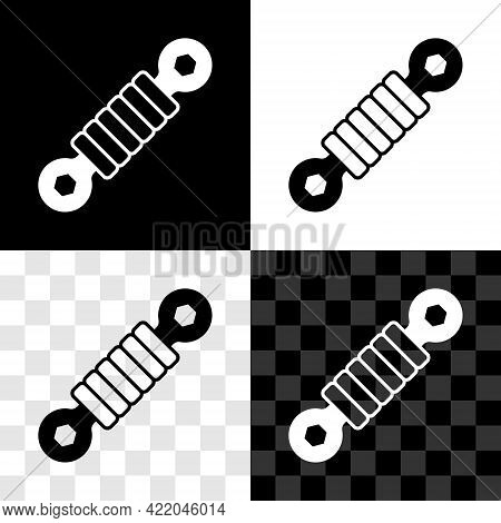 Set Shock Absorber Icon Isolated On Black And White, Transparent Background. Vector