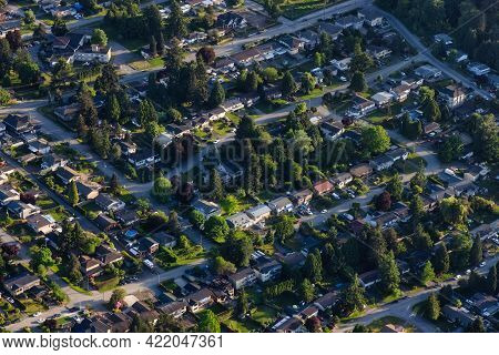 Aerial View From An Airplane Of Residential Homes In Surrey, Greater Vancouver, British Columbia, Ca