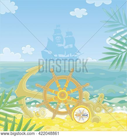 Pirate Ship Helm, An Anchor, A Compass And An Old Map Of Hidden Treasures Of Filibusters On A Sandy