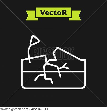 White Line Earthquake Icon Isolated On Black Background. Vector