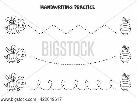 Tracing Lines For Kids With Cute Black And White Bee. Handwriting Practice For Children.