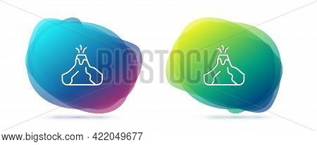 Set Line Volcano Eruption With Lava Icon Isolated On White Background. Abstract Banner With Liquid S