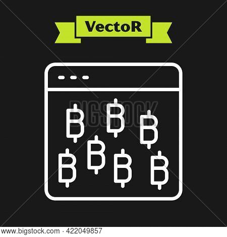 White Line Cryptocurrency Coin Bitcoin Icon Isolated On Black Background. Physical Bit Coin. Blockch