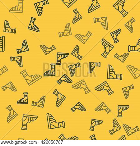 Blue Line Slippers With Socks Icon Isolated Seamless Pattern On Yellow Background. Beach Slippers Si