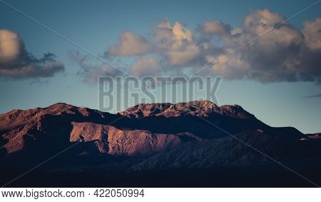 The Last Rays Of Sun Lighting The Andes Mountains Near Uspallata, Province Of Mendoza, Argentina.