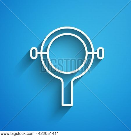 White Line Filter Wrench Icon Isolated On Blue Background. The Key For Tightening The Bulb Filter Tr