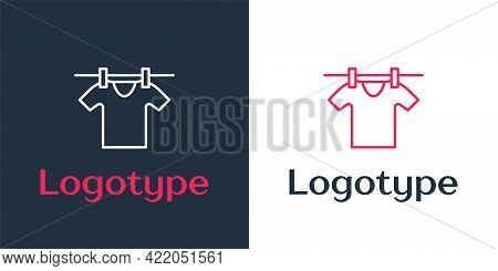 Logotype Line Drying Clothes Icon Isolated On White Background. Clean Shirt. Wash Clothes On A Rope
