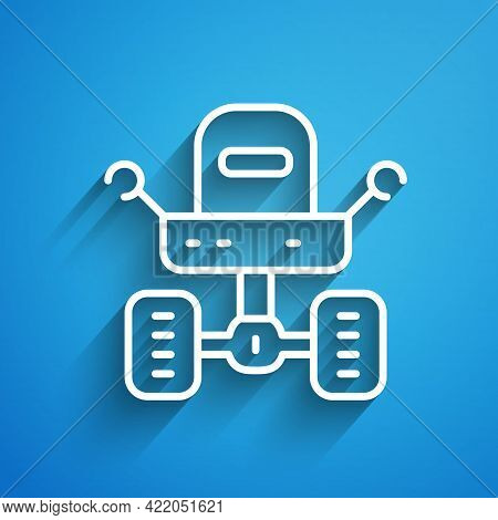White Line Mars Rover Icon Isolated On Blue Background. Space Rover. Moonwalker Sign. Apparatus For