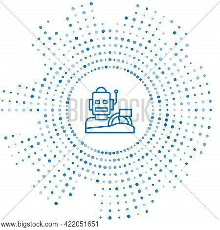 Blue Line Robot Humanoid Driving A Car Icon Isolated On White Background. Artificial Intelligence, M