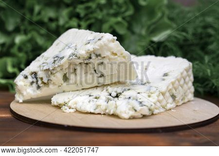 Cheese With Noble Blue Mold Close-up On A Background Of Greens.